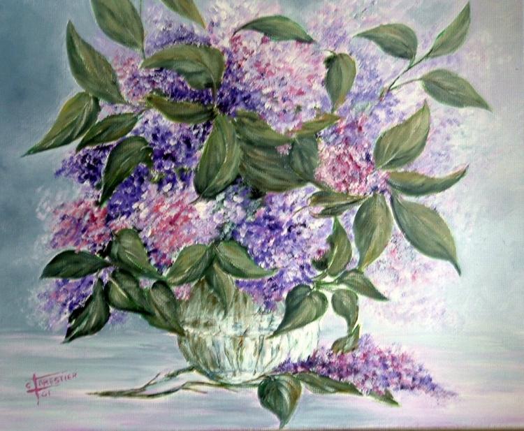 Tableau peinture art fleurs lilas lilac bunch fleurs for Bouquet de fleurs lilas