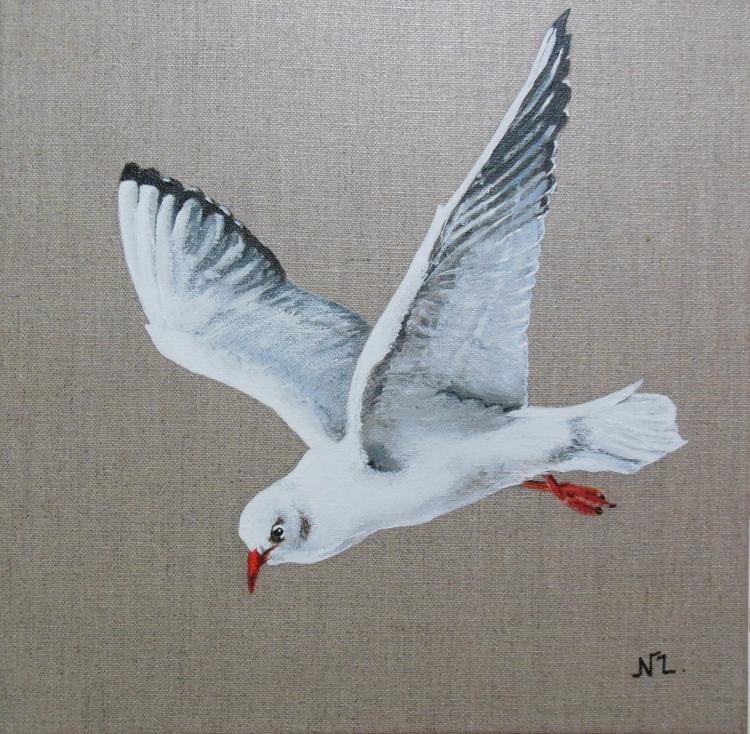 Tableau peinture art mouette oiseau mer decoration animaux acrylique mouette rieuse - Colorant pour huile de lin ...