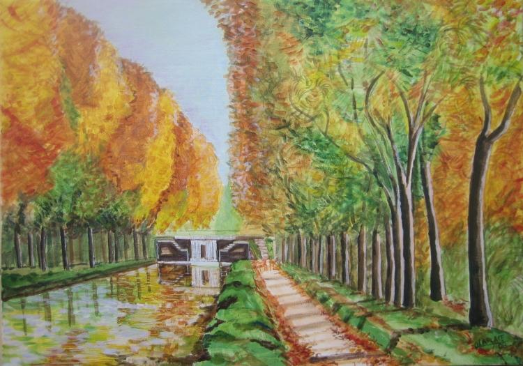 TABLEAU PEINTURE paysage canal toulouse automne - paysage canal du midi