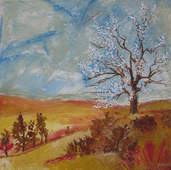 tableau peinture art paysage automne pein peinture printemps huile arbre en fleur tableau. Black Bedroom Furniture Sets. Home Design Ideas