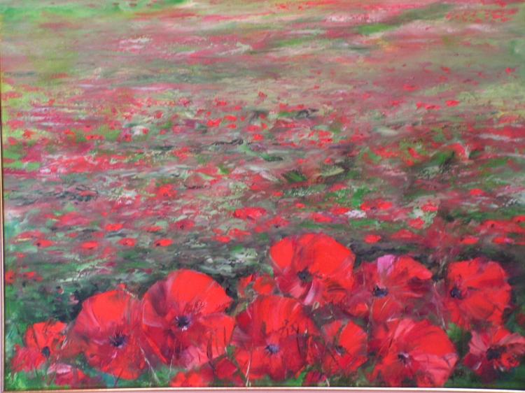 Tableau peinture art fleurs fleurs peinture a l 39 huile for Tableau de coquelicot en peinture