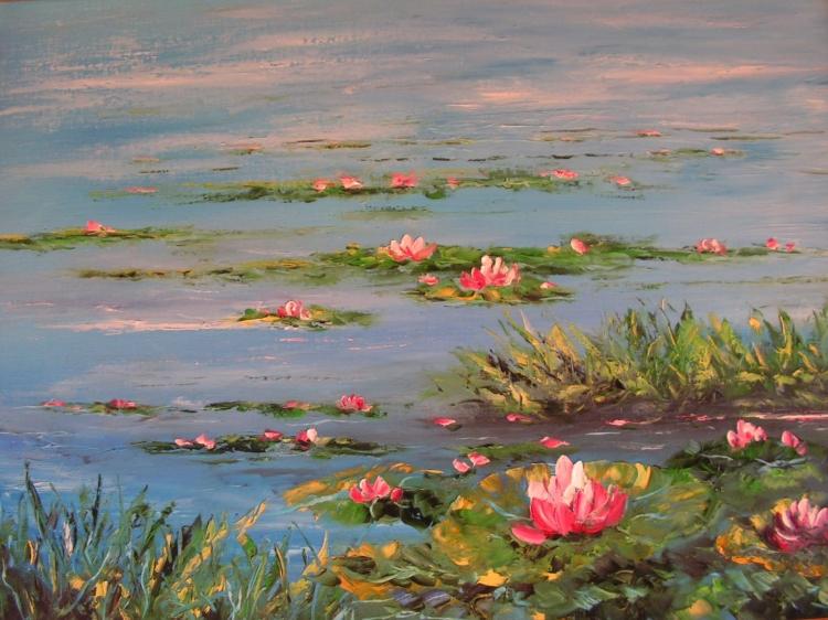 Tableau peinture art etang paysages peinture a l 39 huile les nnuphars - Tableaux de peinture a l huile ...