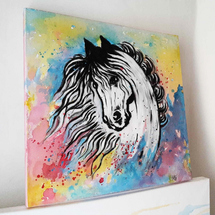 Très TABLEAU PEINTURE abstrait cheval tableau hors - tableau acrylique  HA99