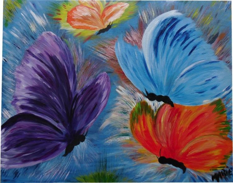 tableau peinture art papillons insectes animaux color s animaux acrylique papillons. Black Bedroom Furniture Sets. Home Design Ideas