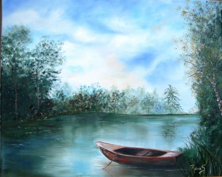 tableau peinture art rivi re barque eau paysages peinture a l 39 huile reflets sur l 39 eau. Black Bedroom Furniture Sets. Home Design Ideas