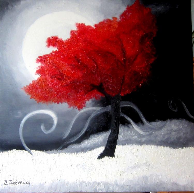 tableau peinture art arbre rouge contemporain moderne paysages peinture a l 39 huile l 39 arbre rouge. Black Bedroom Furniture Sets. Home Design Ideas
