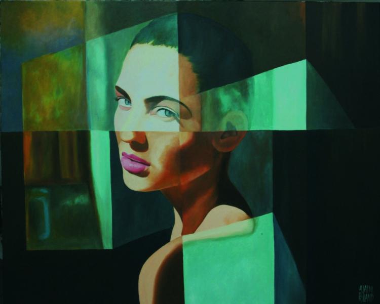 Tableau peinture art lumire expression visage femme abstrait peinture a l 39 huile le reproche - Peinture sur visage ...