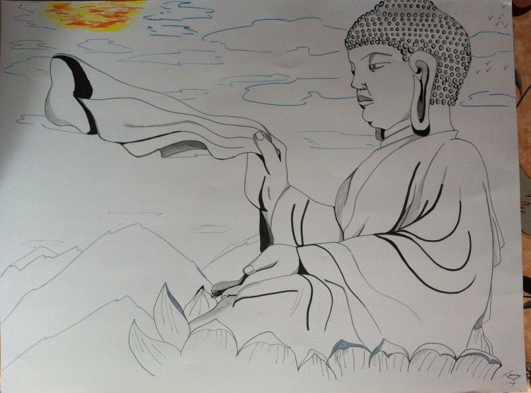 dessin personnages crayon bouddha