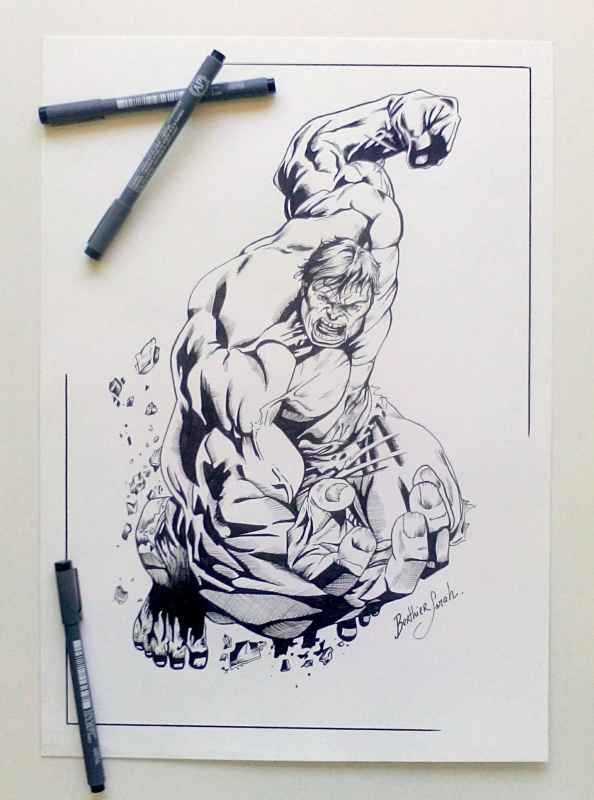 dessin hulk avangers comics marvel personnages feutre dessin hulk comics bd au feutres - Dessin Marvel