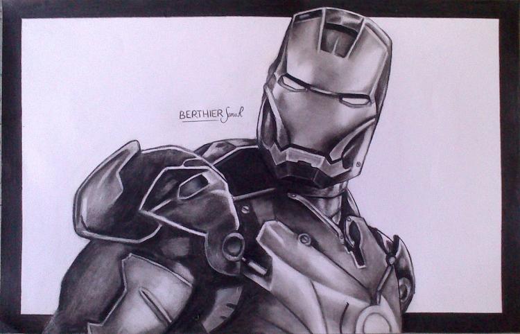 dessin iron man robot marvel comics personnages fusain iron man noir et blanc - Dessin Marvel