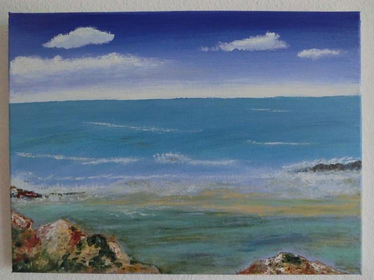 tableau peinture art mer paysage plage marine acrylique mer calme vendu. Black Bedroom Furniture Sets. Home Design Ideas