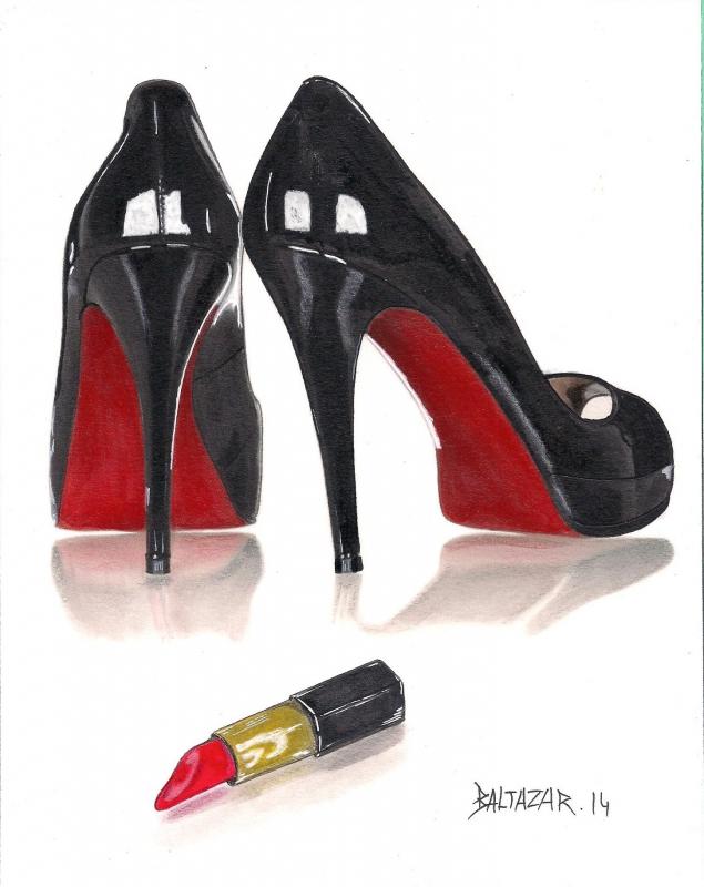 dessin chaussure dessin trompe l 39 oeil feutre talon aiguille. Black Bedroom Furniture Sets. Home Design Ideas