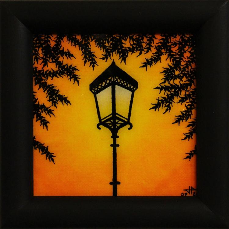 tableau peinture art r verb re luminaire branchages clairage villes acrylique r verb re 2. Black Bedroom Furniture Sets. Home Design Ideas