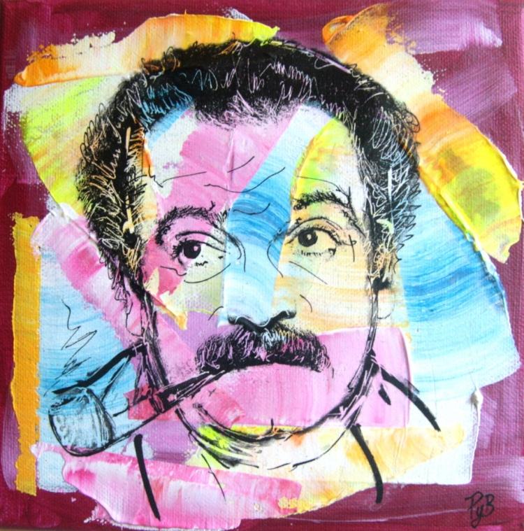 TABLEAU PEINTURE - georges-brassens-abstrait-portrait-dessin-tableau ... Streetart