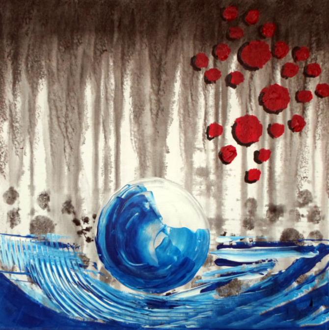 tableau peinture art abstrait peinture a l'huile - goutte d'eau ... - Peinture A L Eau Sur Peinture A L Huile