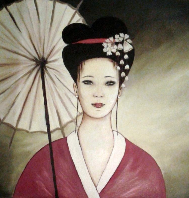 Tableau Peinture Art Femme Geisha Japon Portrait