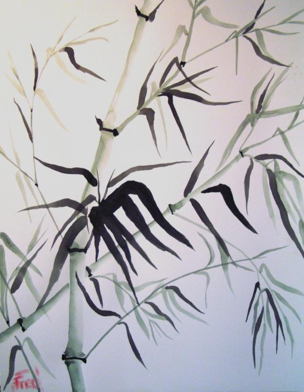 Bien-aimé TABLEAU PEINTURE art aquarelle japon moderne - Bambous KG91