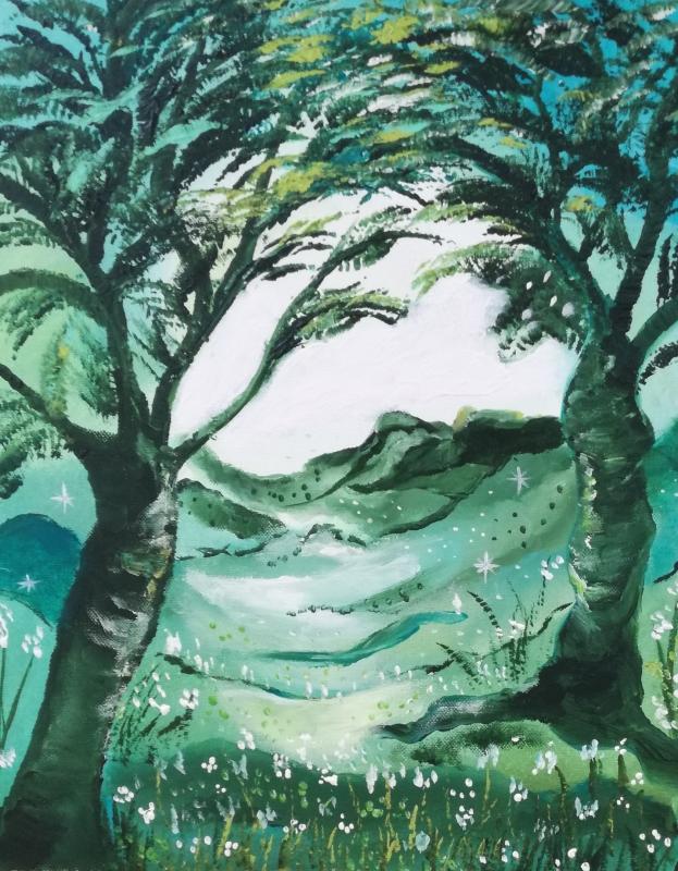 TABLEAU PEINTURE toile féérique univers enchanté forêt acrylique sur toile - La vallée perdue