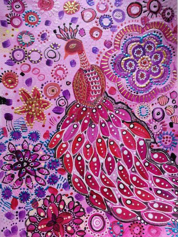 TABLEAU PEINTURE paon, oiseau art naïf relief pailleté - L'oiseau Merveilleux