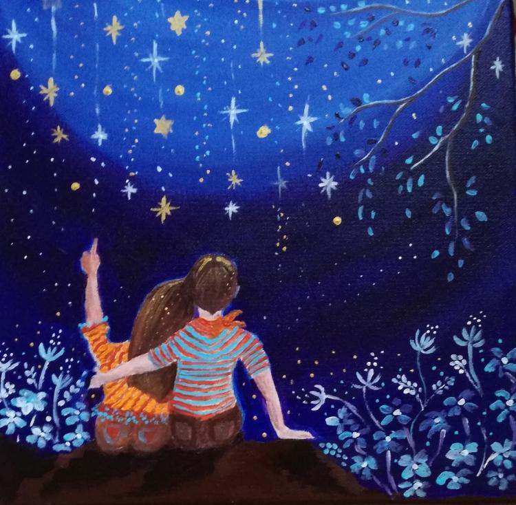 TABLEAU PEINTURE univers de l'en enfants étoiles bleu et or - Voir tomber les étoiles