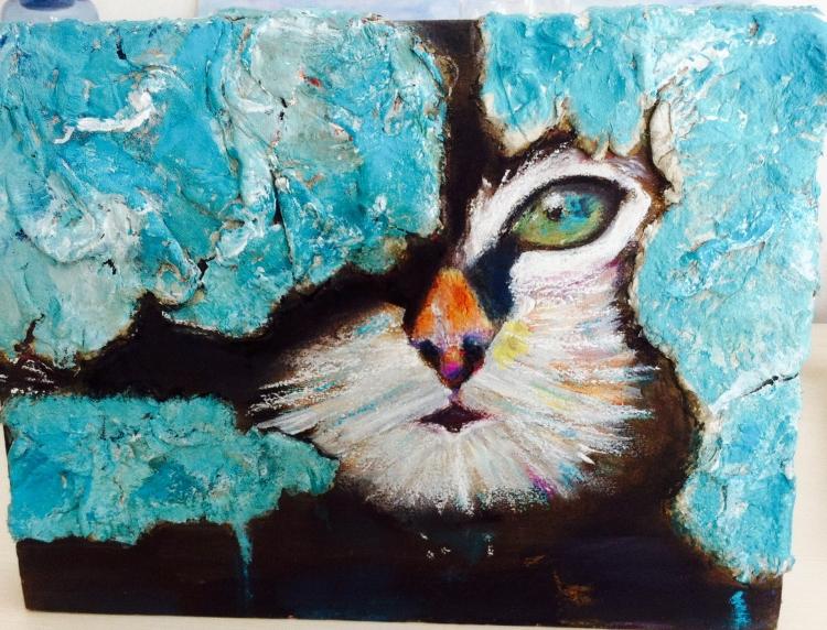 Tableau peinture art chat matire moderne animaux acrylique - Tableau de chat moderne ...