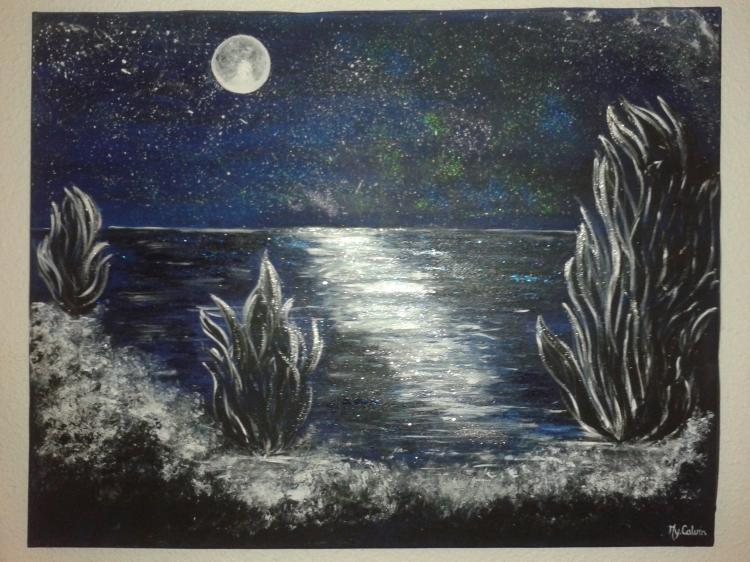 Tableau peinture art bleu nuit lune sur la mer reflets for Peinture bleu nuit