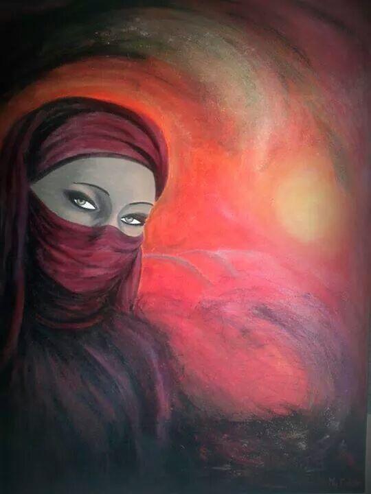 Bien connu TABLEAU PEINTURE femme voilée désert couleurs chaudes orientale  LG87