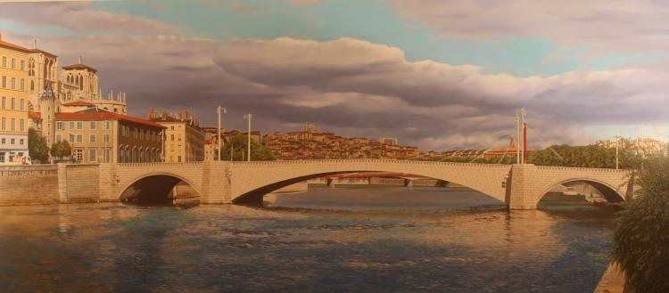 tableau peinture art lyon pont fleuve architecture architecture peinture a l 39 huile lyon. Black Bedroom Furniture Sets. Home Design Ideas