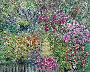 Tableau peinture chat dans le jardin fleuri for Jardin fleuri lyon 9