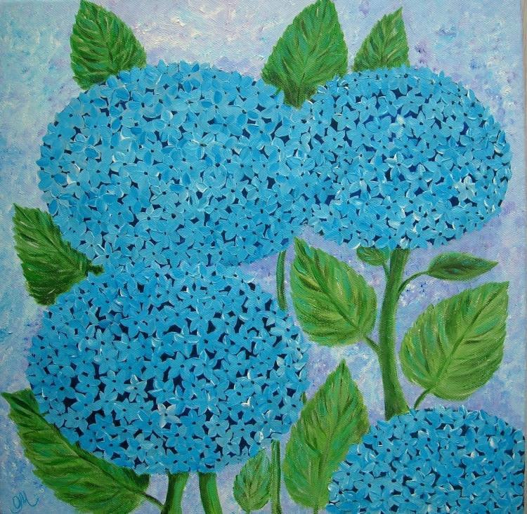 Tableau peinture acrylique au couteau Les hortensias : Peintures ...