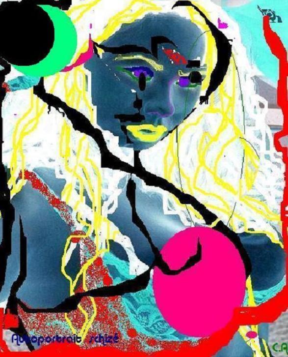 ART NUMéRIQUE peinture sur photo nu femme coloré - Auto-portrait schizé