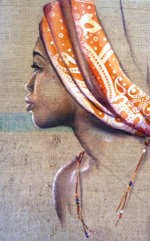 tableau femme mayotte ocean indien toile jute personnages profil orange p