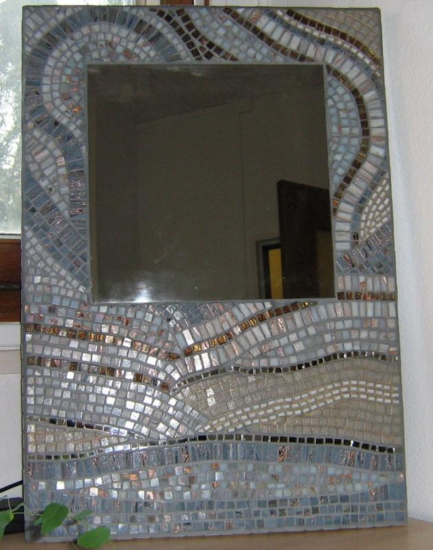artisanat d 39 art pi ce unique mosa que art nouveau miroir abstrait min ral. Black Bedroom Furniture Sets. Home Design Ideas