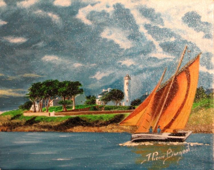 tableau peinture art bretagne mer bateau marine marine acrylique port navalo le forban du bono. Black Bedroom Furniture Sets. Home Design Ideas