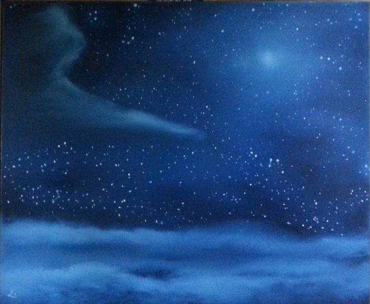 tableau peinture art ciel etoiles lune nuage paysages peinture a l 39 huile nuit toil e. Black Bedroom Furniture Sets. Home Design Ideas