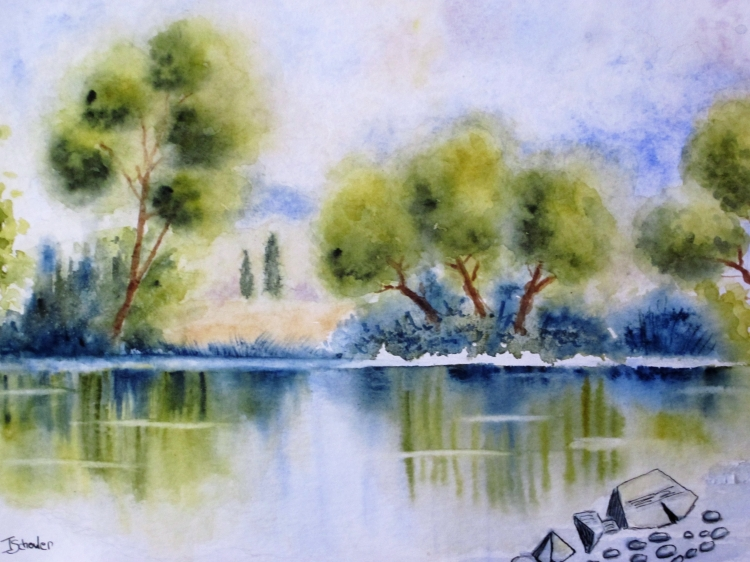 Tableau Peinture Art arbre eau lac reflets Paysages ...