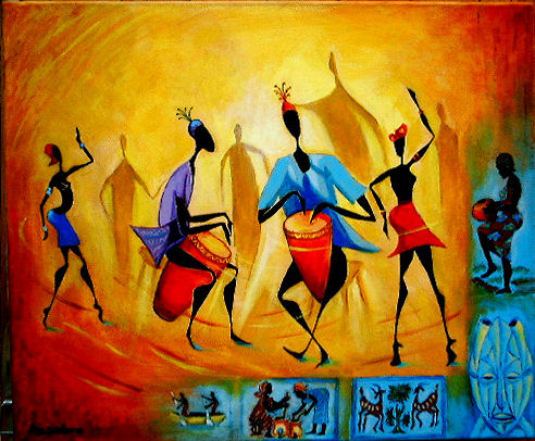 tableau peinture art africain moderne personnages acrylique les pictures. Black Bedroom Furniture Sets. Home Design Ideas