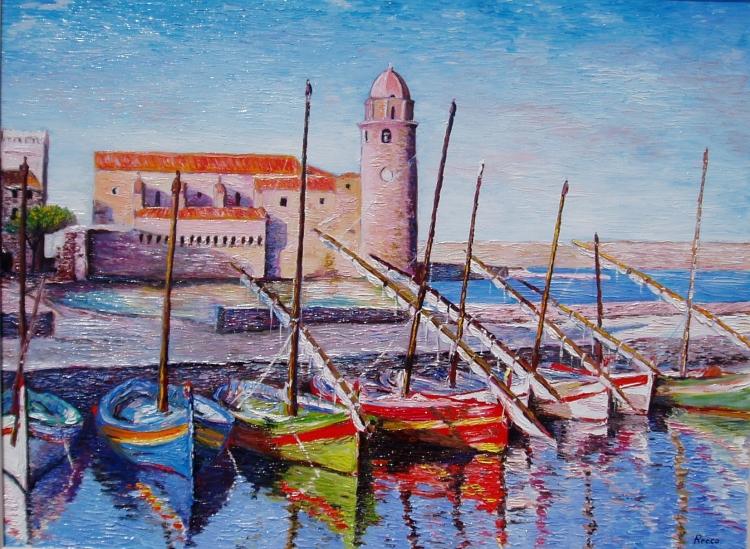Tableau peinture collioure catalogne barques mer barques for Artiste peintre catalan