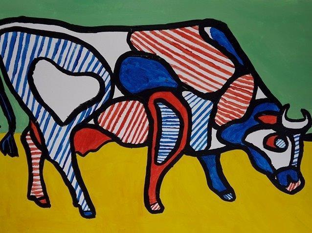 Célèbre TABLEAU PEINTURE Vache Cow Dubuffet - Vache abstraite inspirée par  BW97