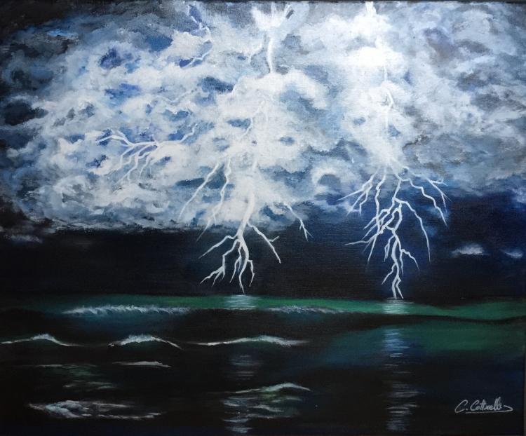 tableau peinture art orage ciel mer nuit paysages acrylique nuit orageuse sur la mer. Black Bedroom Furniture Sets. Home Design Ideas