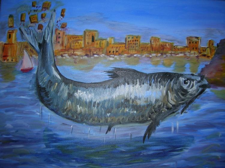 Tableau peinture art sardine vieux port marseille peinture a l 39 huile sardine bouchant le vieux - Sardine port de marseille ...