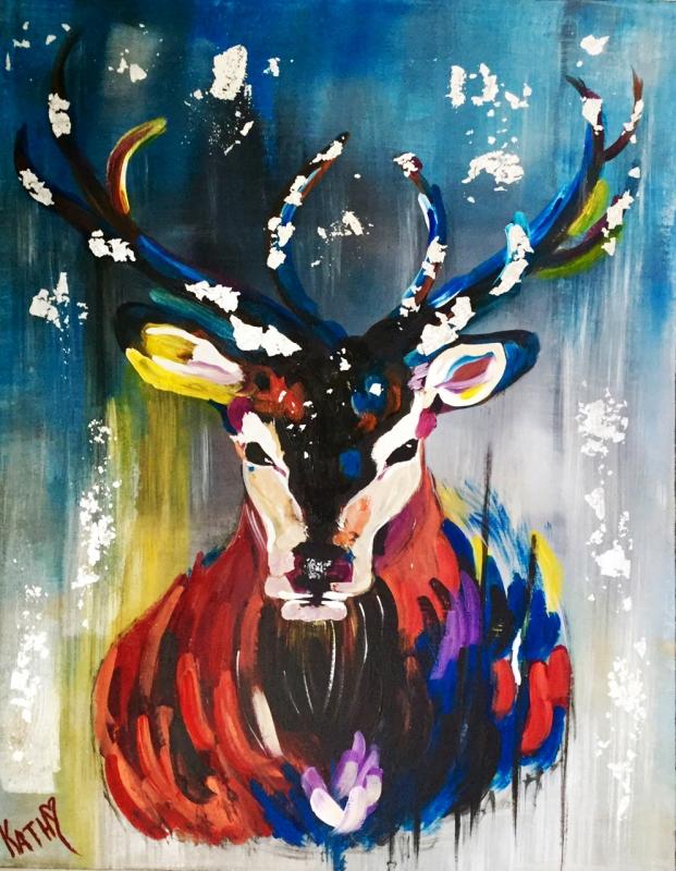 Très Tableau Peinture Art painting peinture acrylique chevreuil Animaux  HA99