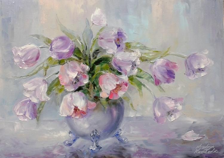 Tableau peinture art bouquet fleurs moderne tulipes fleurs - Peinture fleur moderne ...