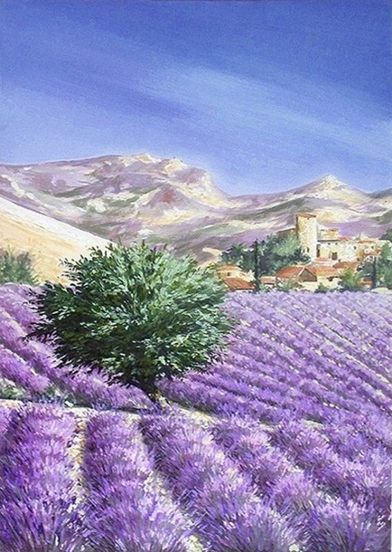 tableau peinture art provence lavande paysage village paysages peinture a l 39 huile lavandes en. Black Bedroom Furniture Sets. Home Design Ideas