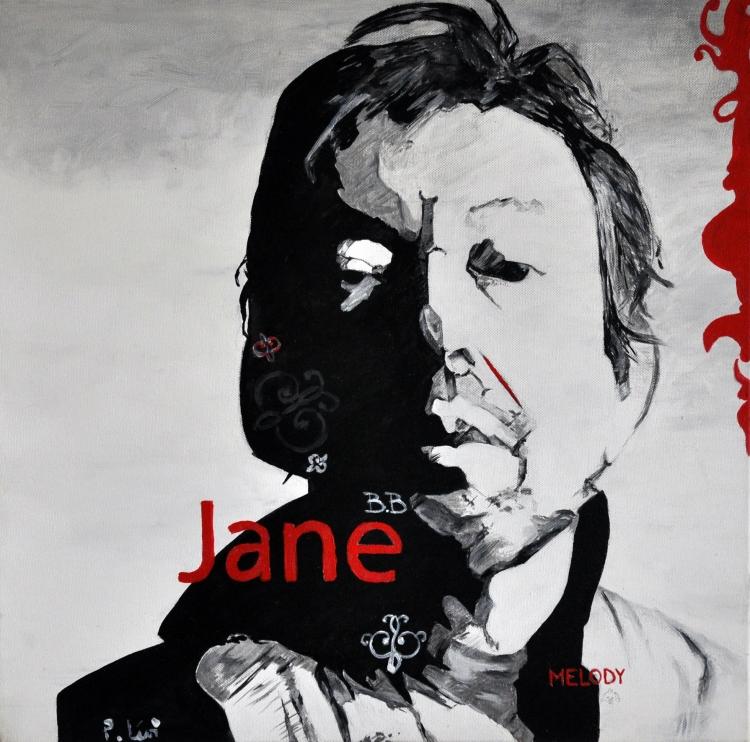 Tableau peinture art gainsbourg portrait noir et blanc for Tableau portrait noir et blanc