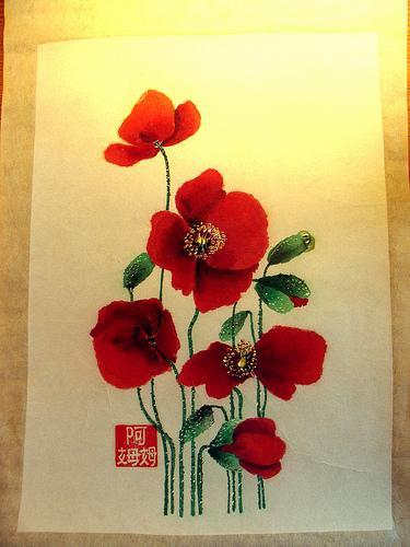 Tableau peinture art coquelicots fleurs champtre fleurs for Tableau de coquelicot en peinture