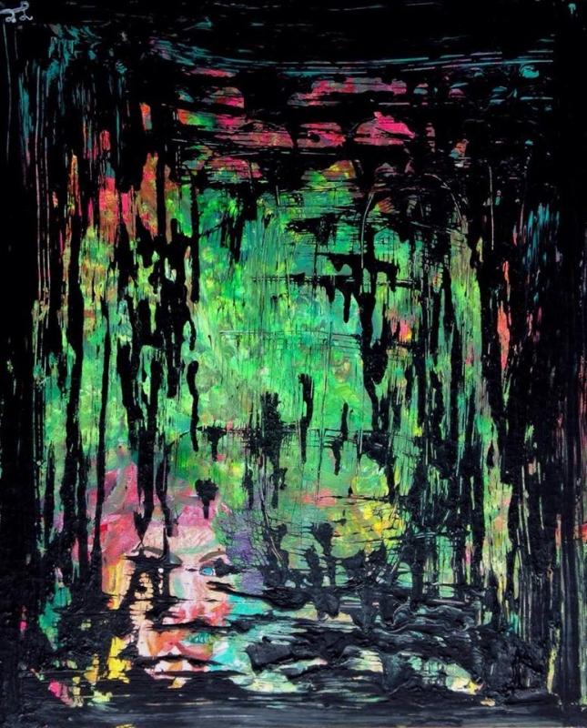 TABLEAU PEINTURE noir abstrait peinture - CONFRERIE NOIRE