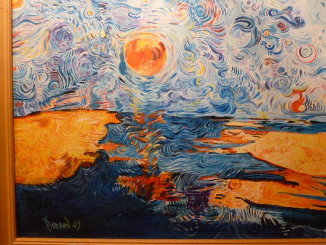 """TABLEAU PEINTURE spirale eau soleil reflet - """"Vers le soir"""", 2009"""