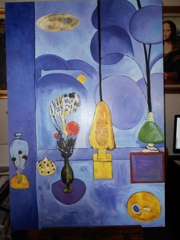 TABLEAU PEINTURE fenêtre bleue abstrait matisse - fenêtre bleue