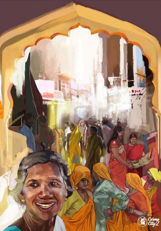 TABLEAU PEINTURE Inde Art Tableau Randy Dims - Vendredi 14h, Johri Bazaar, Jaipur